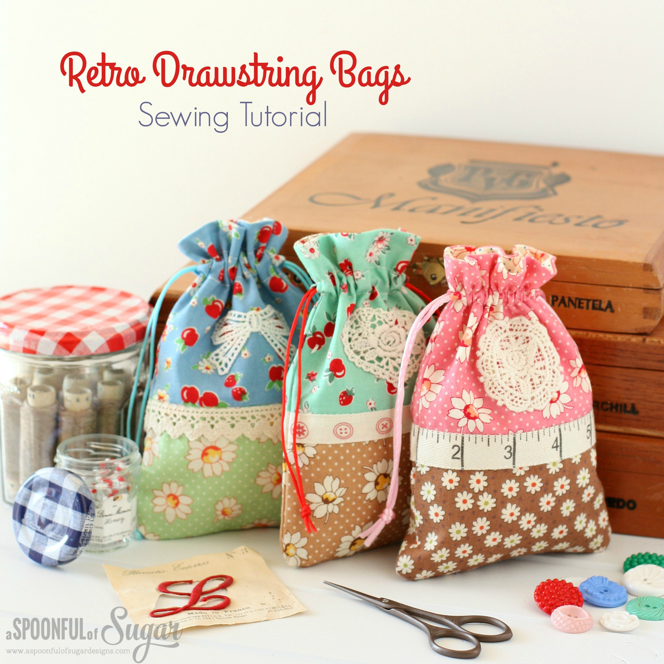 Christmas Retro Drawstring Bags - A Spoonful of Sugar
