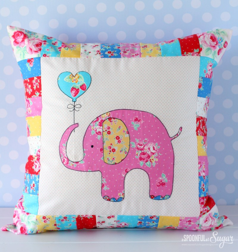 Sew a sweet Ella the Elephant Pillow using our newest pdf sewing pattern. Perfect for a nursery or child's room, it can be easily made in an afternoon. www.aspoonfulofsugardesigns.com