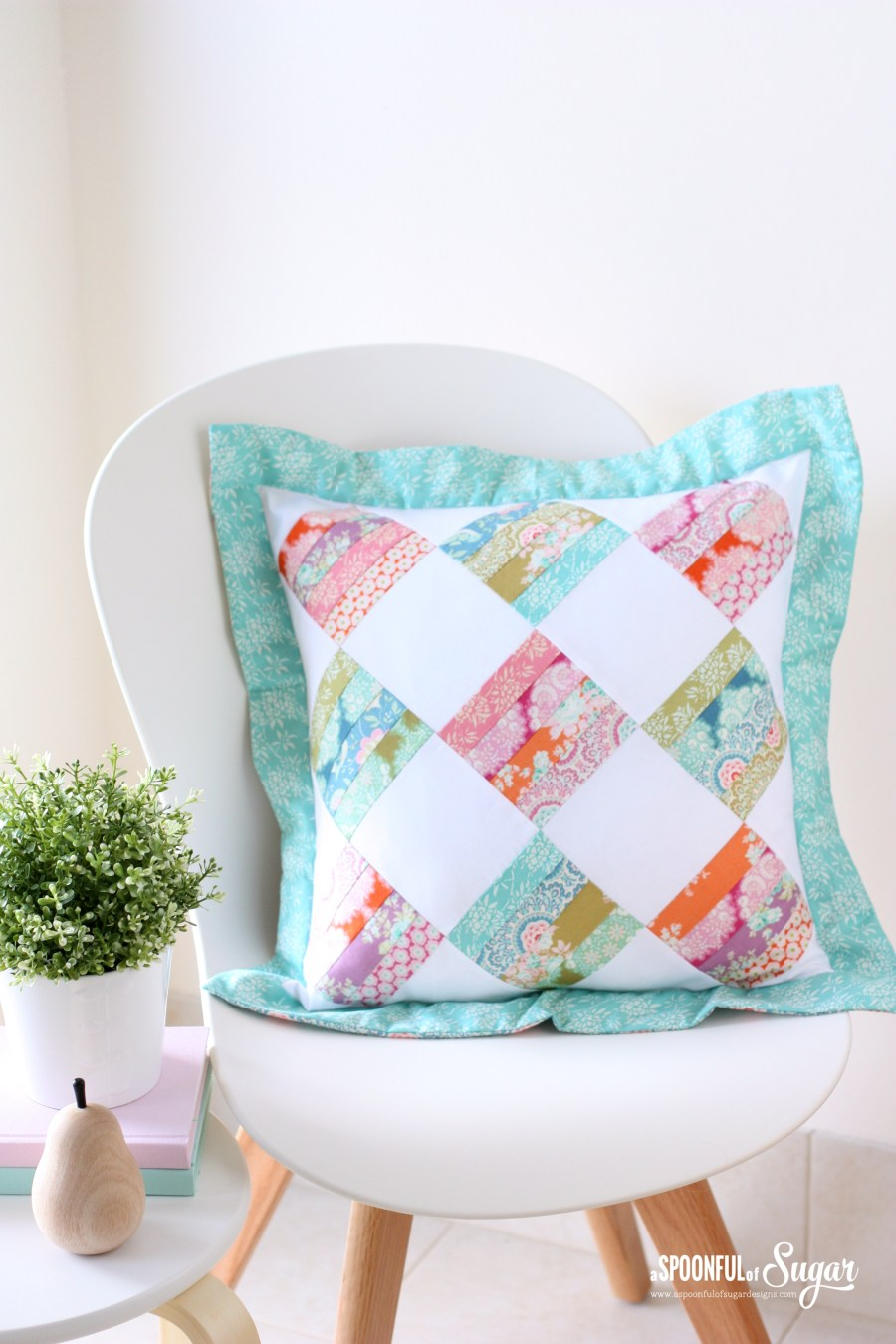 Allsorts Pillow made with Tilda Harvest fabric by A Spoonful of Sugar