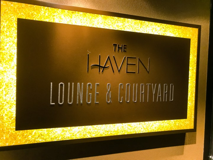 Sign for the Haven Lounge & Courtyard