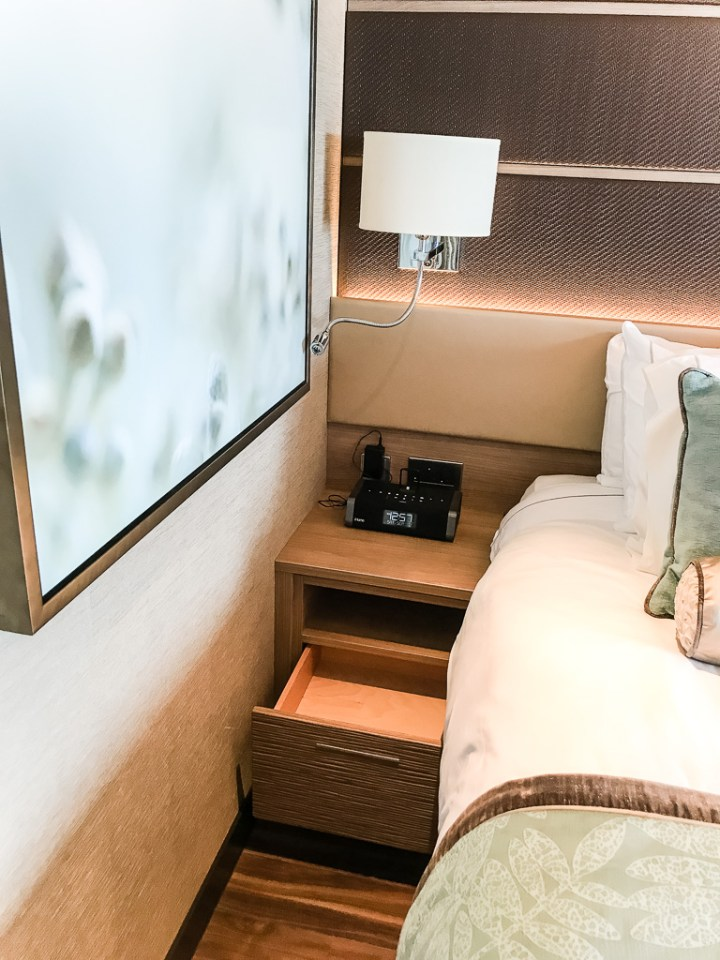 Bedside table in Haven Spa Suite