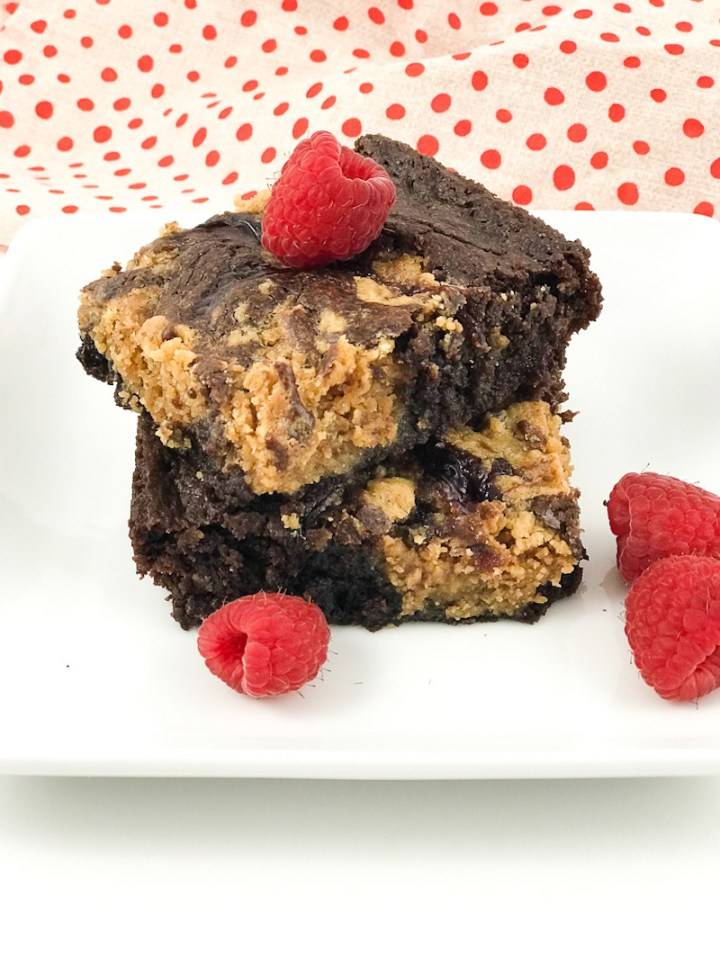 Peanut Butter and Jelly Brownies close up
