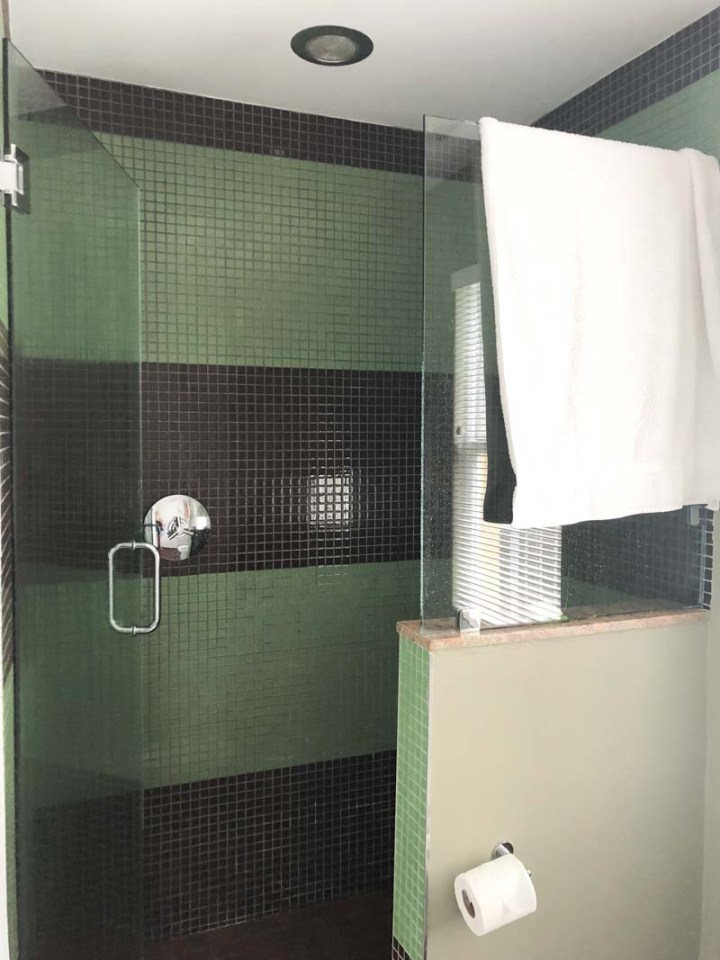 Shower in room at Truman Hotel