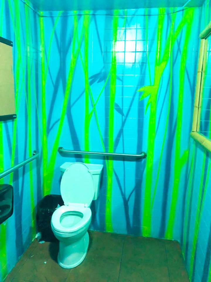 Crazy colorful restroom at Tiki House