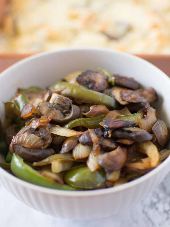 Sauteed veggies to go on top of the Philly Cheesesteak Bubble Up Casserole