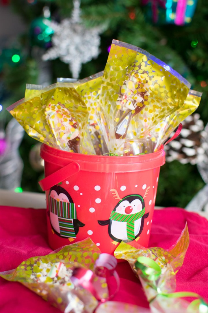 Wrapped Chocolate Candy Cane Coffee Spoons in a container