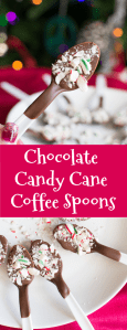 Pinterest image for Chocolate Candy Cane Coffee Spoons