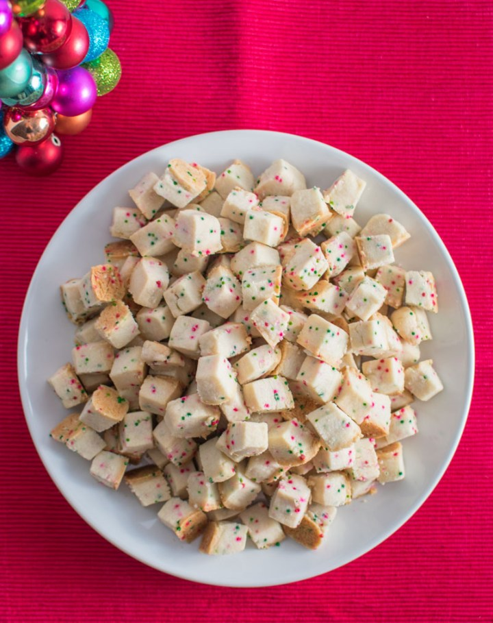 Overhead view of a plate of Christmas Shortbread bites