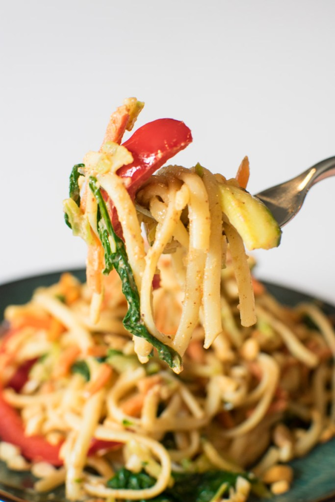 Close up of noodles and veggies on a fork