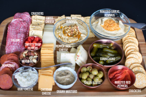 Picture of charcuterie board with all items arranged neatly in rows and in small bowls