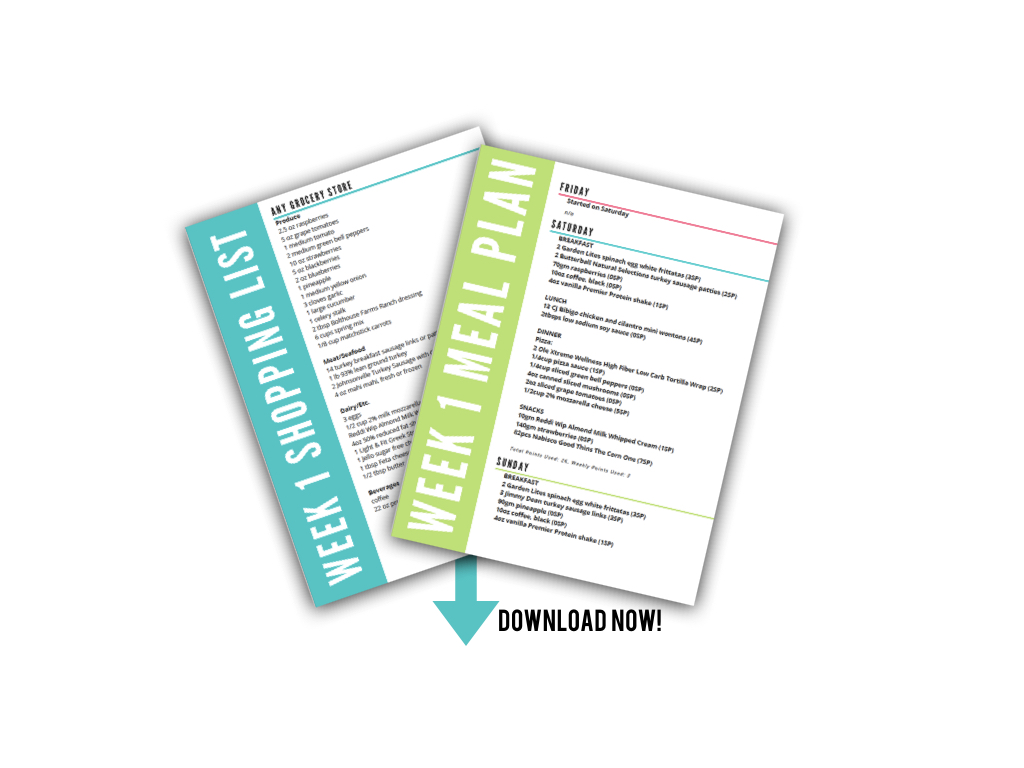 Click to download weekly meal plan and shopping list