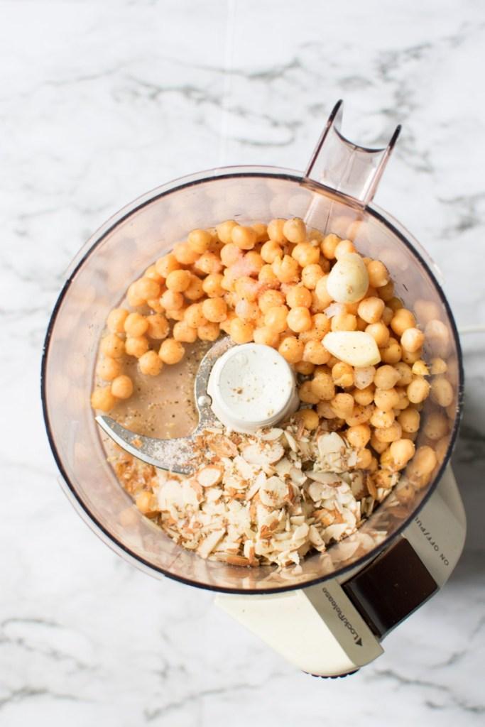 Almond Hummus ingredients in food processor