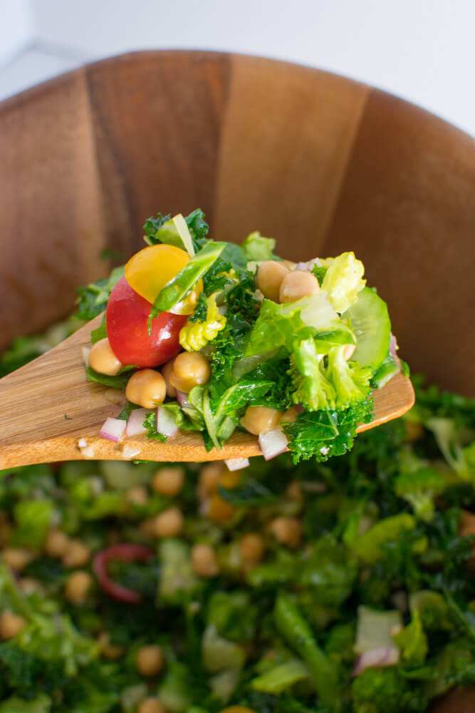 Closeup of Rainbow Mediterranean Salad ingredients on wooden spoon