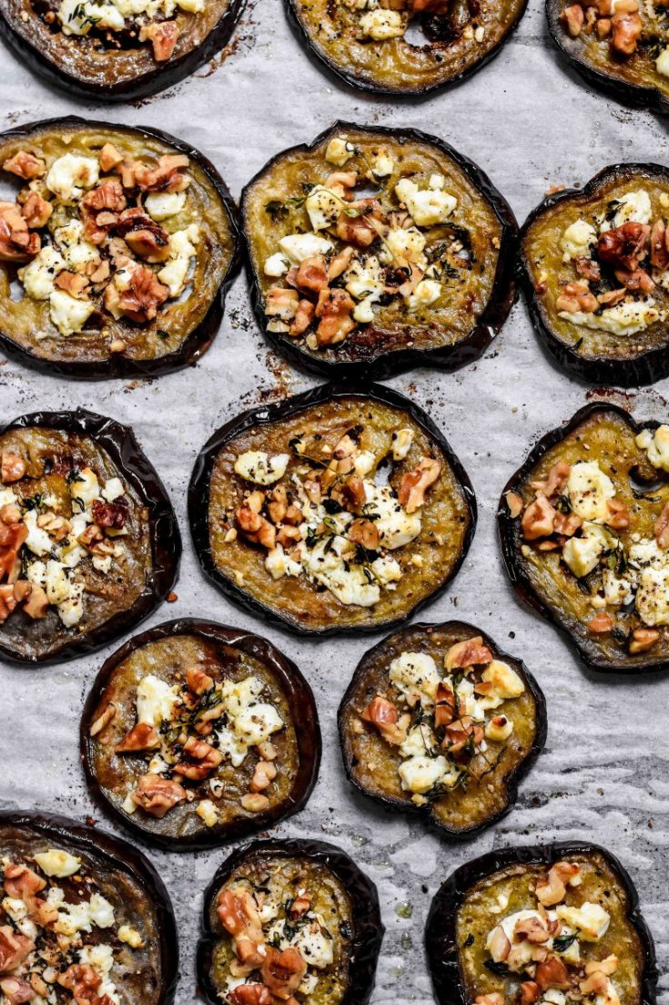 Eggplant Toasts with Goat Cheese and Walnuts