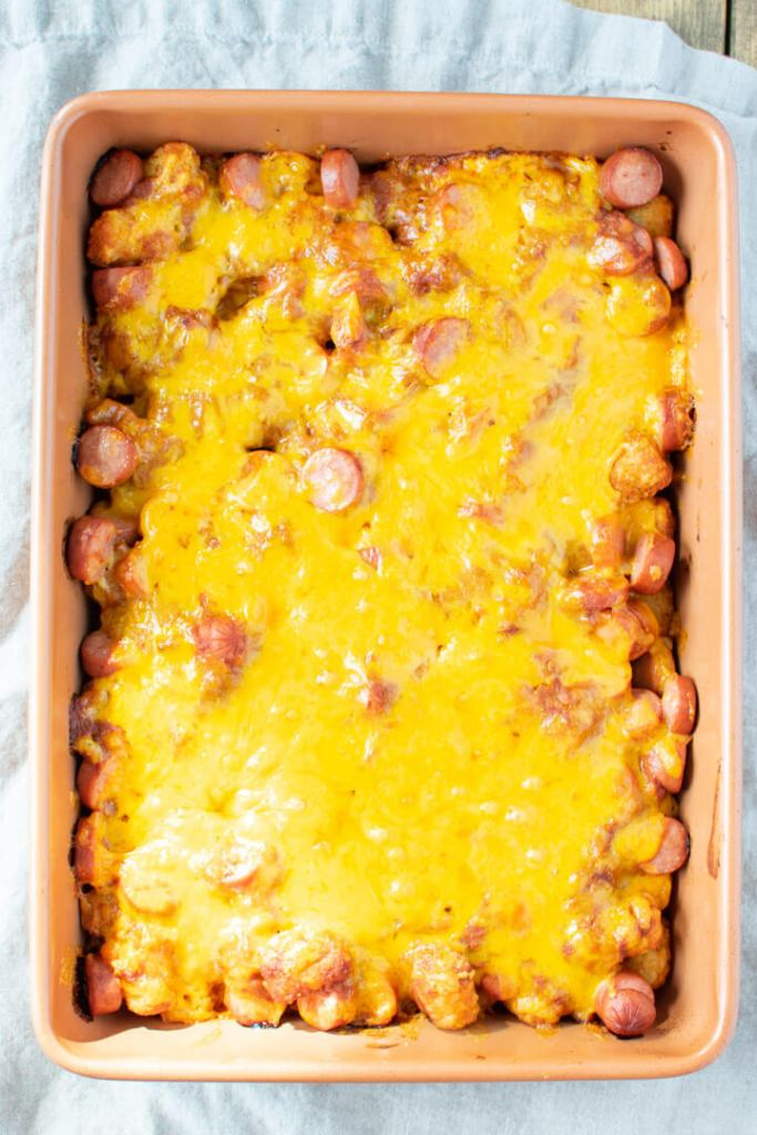 hot dog casserole after baking