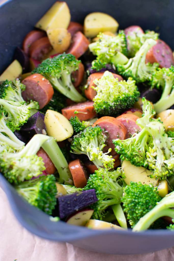 Close up of smoked sausage and veggies in a bowl