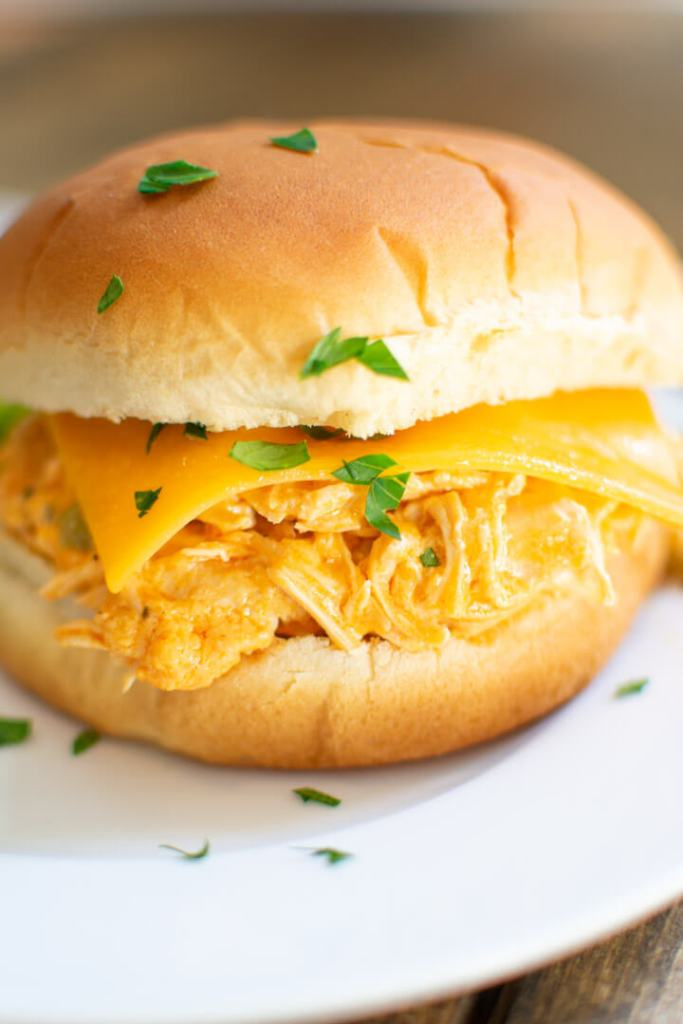 Closeup of buffalo chicken sandwich