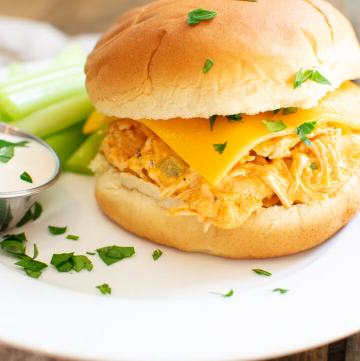 Instant Pot Buffalo Chicken Sandwich on a plate