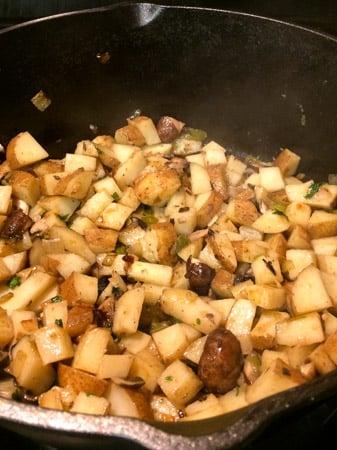 potatoes and mushrooms for Cajun shrimp soup