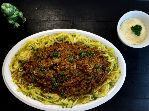cooked beef and mushroom Bolognese with zucchin noodles