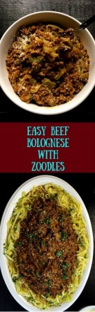Feed your Italian food craving and still feel light as air with this Easy Beef Bolognese With Zoodles from A Sprinkling of Cayenne. http://asprinklingofcayenne.com/easy-beef-bolognese-with-zoodles/