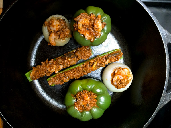 stuffed celery, stuffed peppers, and stuffed onions