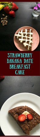 Gluten free and Paleo w/o icing, this scrumptious Strawberry Banana Date Breakfast Cake keeps well in the fridge all week. http://asprinklingofcayenne.com/strawberry-banana-date-breakfast-cake/