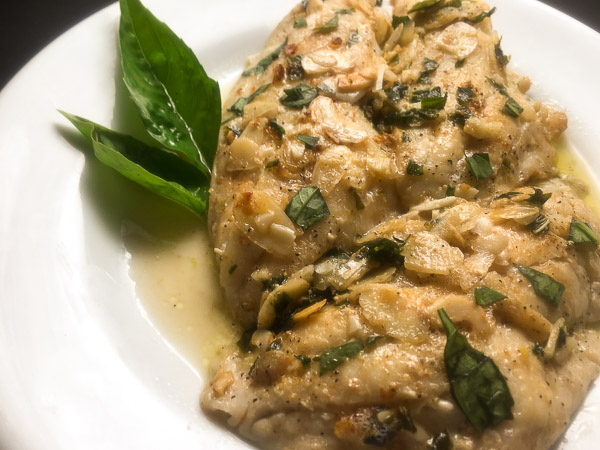 pan fried grouper with beurre noisette sauce