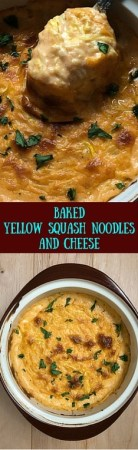 With true southern indulgence, this Baked Yellow Squash Noodles And Cheese hits the spot without weighing you down. https://asprinklingofcayenne.com
