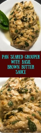 Gluten free and Paleo, this Pan Seared Grouper With Basil Brown Butter Sauce takes just 15 minutes to make. https://asprinklingofcayenne.com