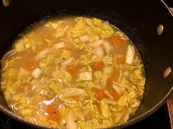 Shot of Gluten Free One Pot Chicken Noodle Soup ingredients. | https://asprinklingofcayenne.com