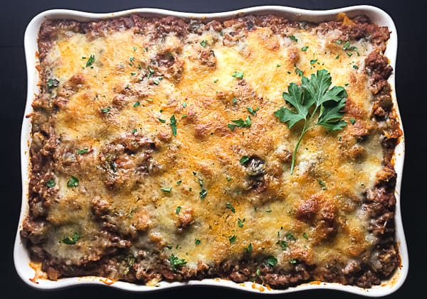 Gluten Free Baked Ziti With Spinach and Mushrooms. | http://asprinklingofcayenne.com