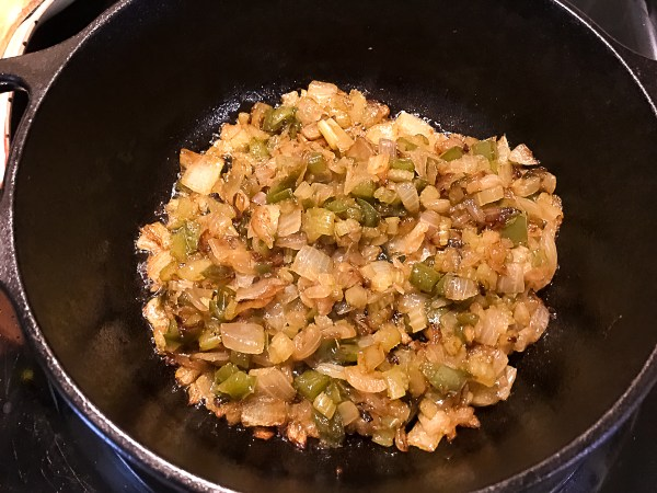 The 'trinity' veggies are caramelized and ready to be incorporated into the Trinity Roux™: A Grain Free, Paleo, and Gluten Free Roux from A Sprinkling of Cayenne.com. | http://asprinklingofcayenne.com