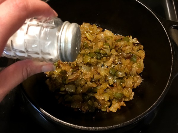 Sprinkling salt on the Trinity Roux™: A Grain Free, Paleo, and Gluten Free Roux.   https://asprinklingofcayenne.com
