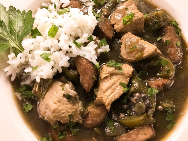 Close-up of Gluten Free Chicken & Sausage Gumbo With Okra from A Sprinkling of Cayenne. https://asprinklingofcayenne.com