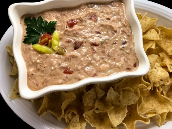 Creole Red and White Bean Dip with tortilla chips from A Sprinkling of Cayenne. | https://asprinklingofcayenne.com