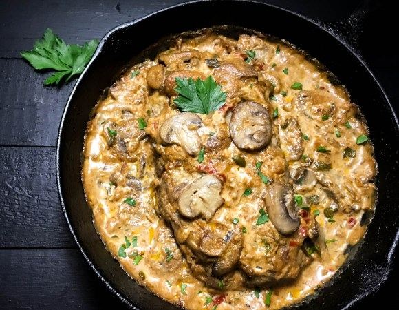 Another look at Gluten Free Beef Stroganoff Skillet Meatloaf from A Sprinkling of Cayenne food blog. | https://asprinklingofcayenne.com