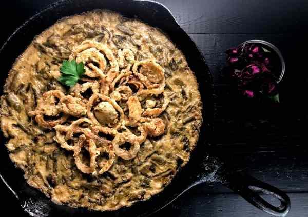 Gluten Free Cajun Smothered Green Bean Casserole from A Sprinkling of Cayenne.   https://asprinklingofcayenne.com/gluten-free-cajun-smothered-green-bean-casserole-2