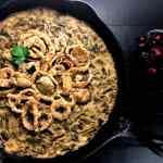 Gluten Free Cajun Smothered Green Bean Casserole from A Sprinkling of Cayenne. | https://asprinklingofcayenne.com/gluten-free-cajun-smothered-green-bean-casserole-2