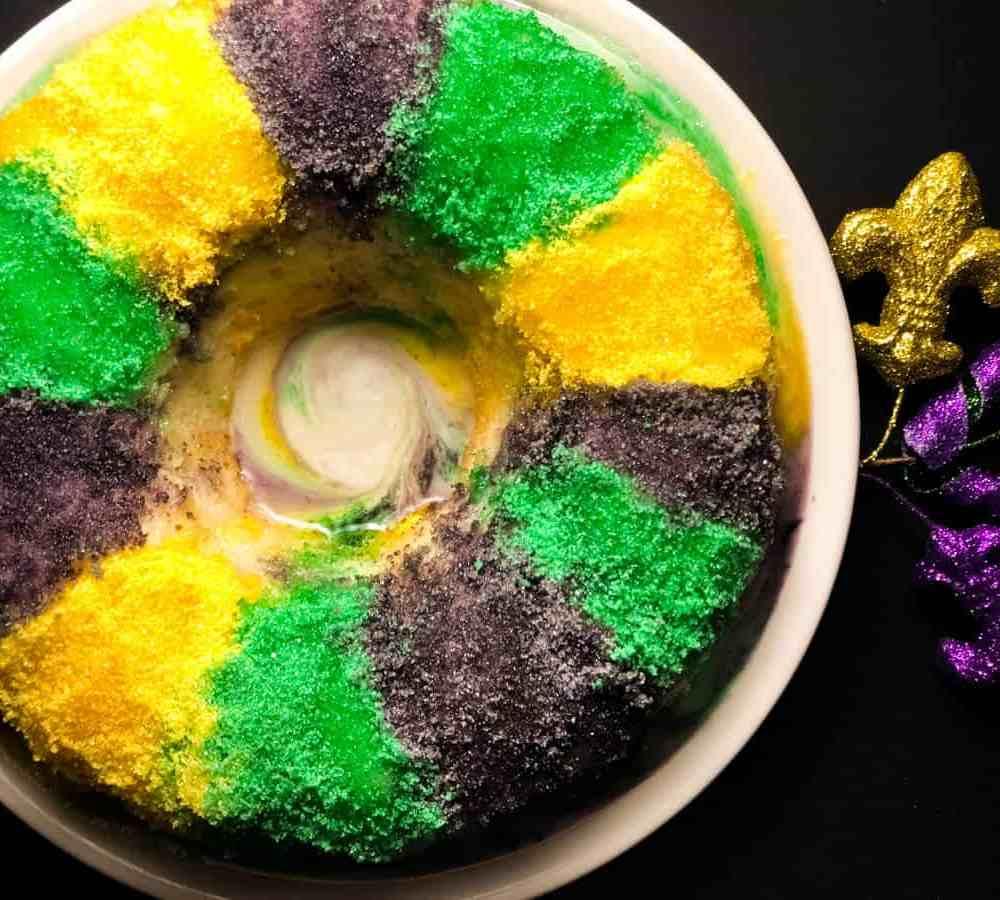 Blueberry Cream Cheese Gluten Free King Cake Bundt Cake | https://asprinklingofcayenne.com