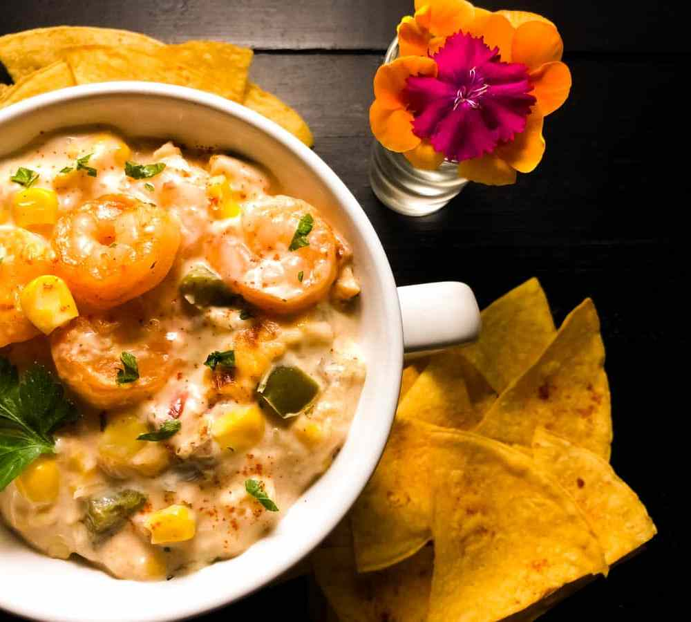 Gluten Free Cajun Shrimp and Corn Dip With Cream Cheese from A Sprinkling of Cayenne. | https://asprinklingofcayenne.com/