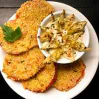 Gluten Free Fried Creole Tomatoes with Roasted Artichoke Remoulade