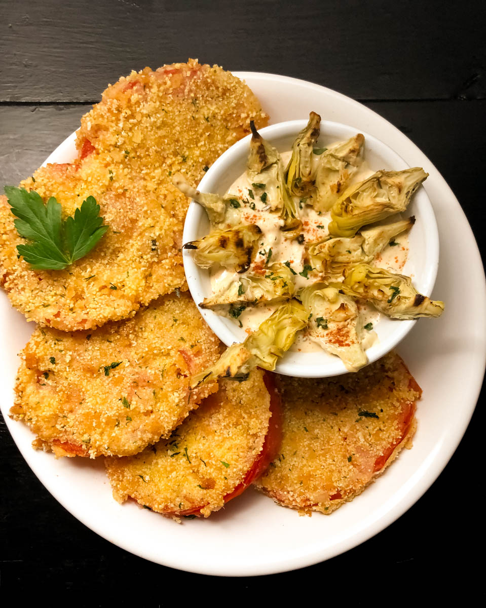 Gluten Free Fried Creole Tomatoes with Roasted Artichoke Remoulade Pinterest Pin