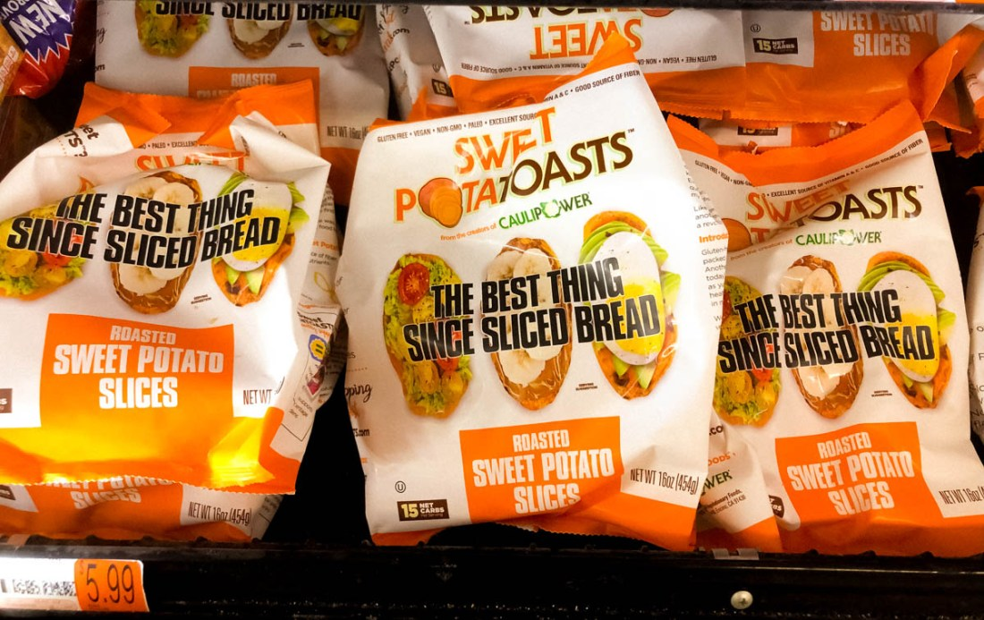 A package of frozen Sweet PotaTOASTS from the makers of CAULIPOWER