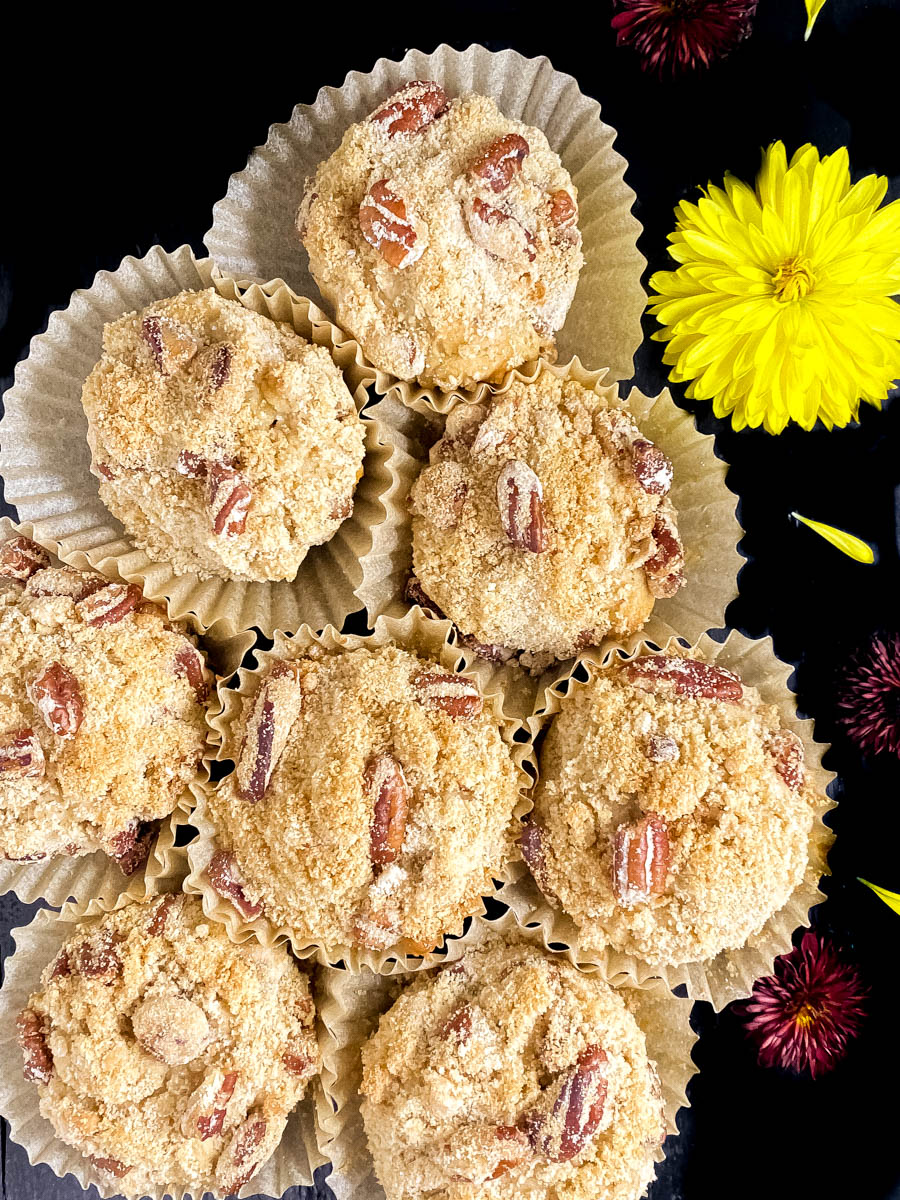 Gluten Free Crumb Topped Muffins with Toasted Pecans