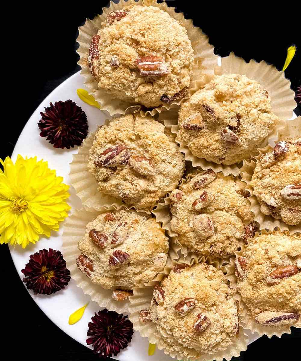 Gluten Free Toasted Pecan Crumb Topped Muffins