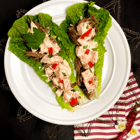 A round white plate filled with 2 freshly made Cajun Roast Beef Lettuce Wraps.