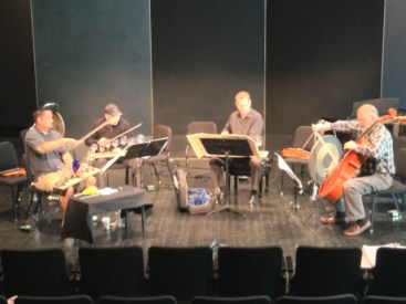 """Rehearsing George Crumb's """"Black Angels"""" 'God Music' at the Mondavi Center. The crystal glasses were a little dusty but we got them tuned up."""