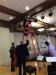Setting the lights at the wonderful Buffalo Suzuki Strings Hall.