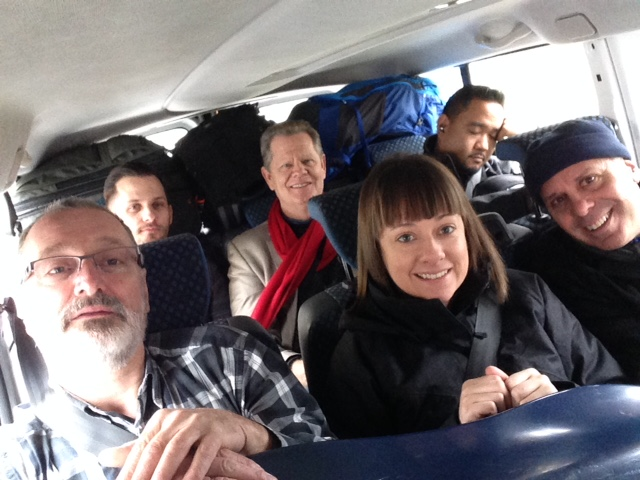 Packed into our van en route to Rzeszow with Hannah and Robert a warren, our DocFilm Institute team.